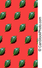 Holly leaves lying diagonally on red background