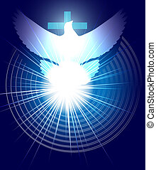 holly spirit - vector conceptual christian illustration, ...
