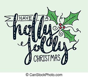 holly, ter, natal, jovial, lettering.