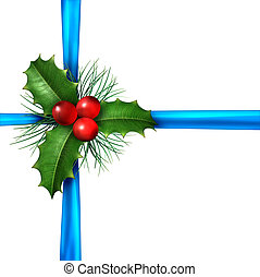 Holly With Christmas Blue Ribbon