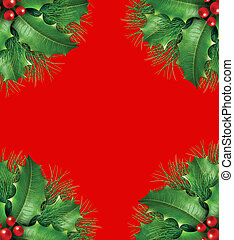 Holly with pine branches seasonal border frame - Holly with...