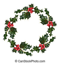 Holly Wreath - Holly leaf sprigs with red berries forming a...