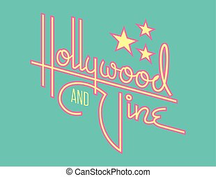 Hollywood and Vine Retro Vector Design with Stars.