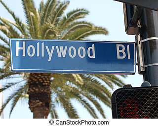 Hollywood Blvd Street Sign - Hollywood Blvd street sign with...