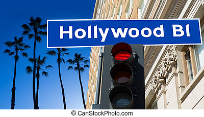 Hollywood Boulevard sign illustration on palm trees