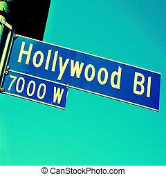 Hollywood Boulevard sign - Closeup of a Hollywood Boulevard...