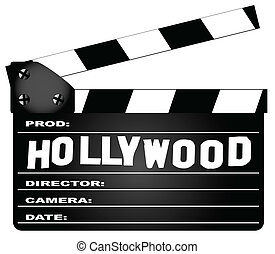 A typical movie clapperboard with the legend HOLLYWOODisolated on white.