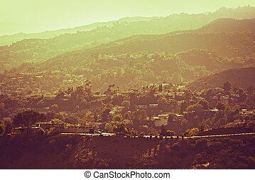 hollywood, colinas, panorama