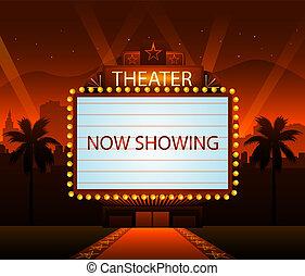 hollywood, film, piros felhint, háttér, és, város