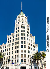 Hollywood First National Bank Building, a historic tower in Downtown Los Angeles