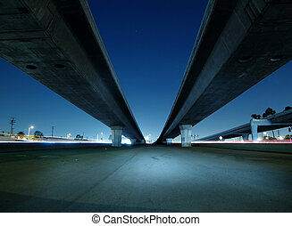Towering freeway bridges near Hollywood California.