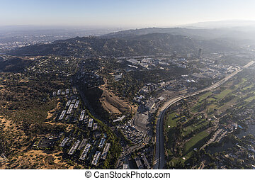 Hollywood Hills and Los Angeles River San Fernando Valley Aerial