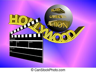 hollywood illustration in 3d with clapboard and action call