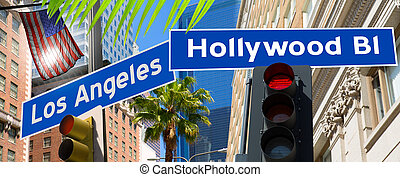 Hollywood Los angeles redlight signs on California photo-mount