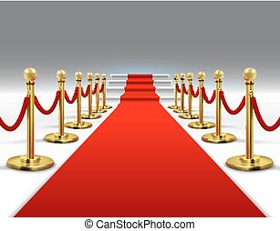 Hollywood luxury and elegant red carpet with stairs in perspective vector illustration