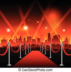 Hollywood movie red carpet - Red carpet with Hollywood sign...