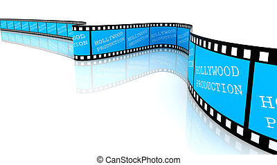 Hollywood production Film - Segment color film with words. ...