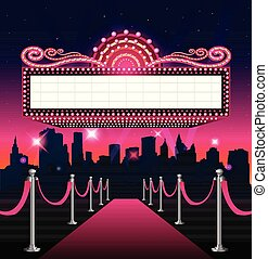 Hollywood red carpet pink background