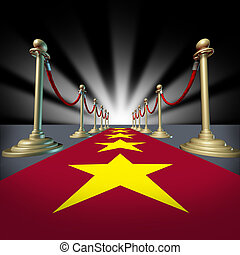 Hollywood red carpet with stars for a cinema premier and grand opening for movie stars with brass dividers and glowing light burst.