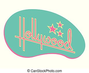 Hollywood Retro Vector Design with Stars.