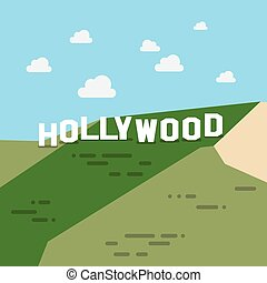 Hollywood sign in flat style. Vector illustration