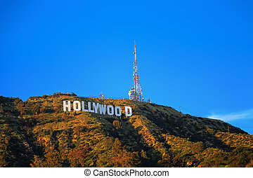 Hollywood sign on the hill in California valley