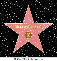 Hollywood star on celebrity fame of walk boukevard