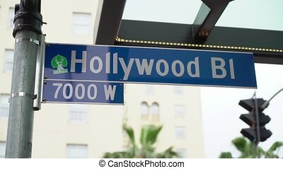 Hollywood walk of fame, hollywood bl road sign