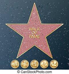 Hollywood Walk Of Fame. Vector Star Illustration. Famous Sidewalk Boulevard.