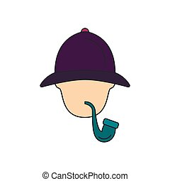 holmes, ícone, estilo, sherlock, caricatura
