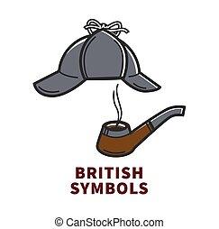 holmes, cartaz, acessórios, britânico, promocional, símbolos, sherlock