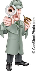 holmes, detective, caricatura, sherlock