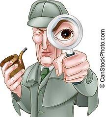 holmes, detective, sherlock, spotprent