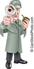 holmes, detective, spotprent, sherlock