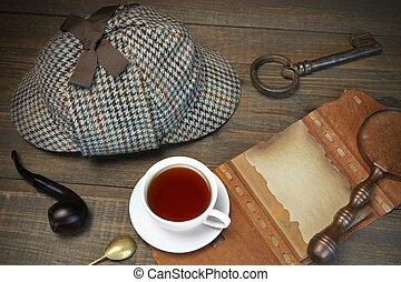holmes, detektiv, concept., privat, holz, sherlock, tisch,...