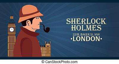 holmes, detetive, holmes., poster., illustration., grande, padeiro, ilustração, rua, 221b., sherlock, ban., london.