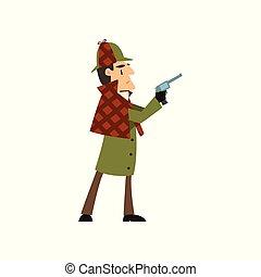 holmes, detetive, segurando, personagem, arma, ilustração, vetorial, sherlock, fundo, branca