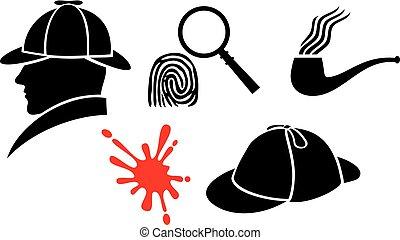 holmes, iconen, pipe), vingerafdruk, sherlock, vergrootglas, bloed, (hat