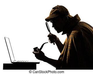 holmes, laptop-computer, silhouette, sherlock