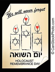 Holocaust remembrance day, hebrew text yom hashoah. Flyer in street art style with candles