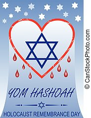Holocaust remembrance day, hebrew text yom hashoah. Flyer with bleeding heart and David star symbol.
