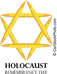 Holocaust Remembrance Day, May 5, Jewish star made from rifle bullets, vector illustration