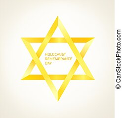 Holocaust remembrance day vector concept. Yellow star isolated on white background