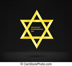 Holocaust remembrance day vector concept. Yellow star on black