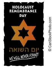 Holocaust remembrance day with orange david star in halftone...