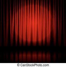 holofote, fase, cortina
