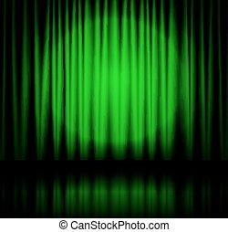 holofote, ligado, verde, cortina fase