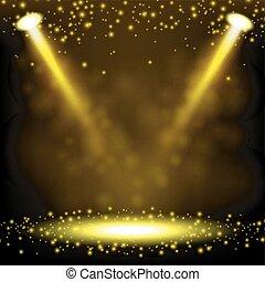 holofote, ouro, brilhar