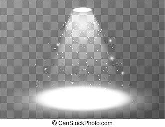 holofote, vazio, cena, fundo, transparente