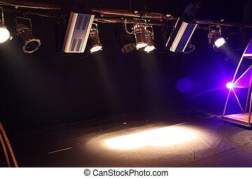 holofotes, em, teatro